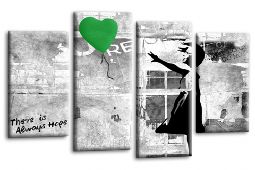 Banksy Art Green Balloon Girl Canvas Wall Picture Love Peace Hope